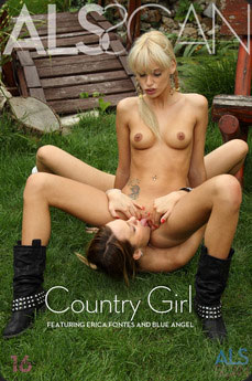 Two country girls licking each other outdoor.